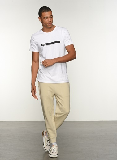 People By Fabrika Erkek Baskılı  Tişört PFESS21TS0029 Beyaz